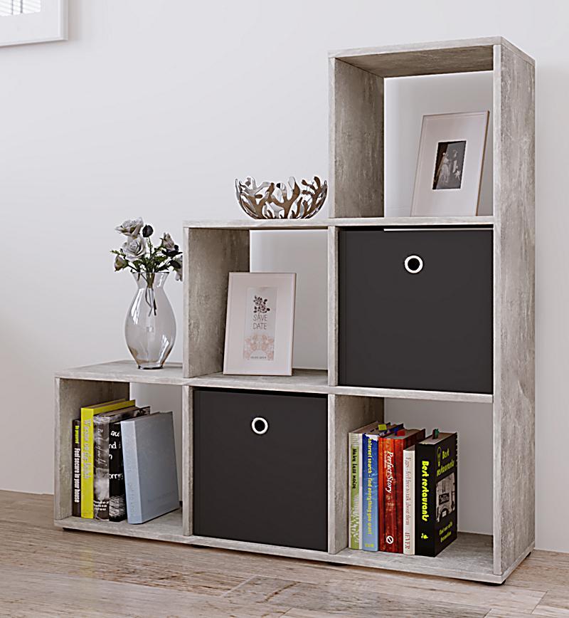 vcm regal treppenregal raumteiler stufenregal b cherregal standregal farbwahl nitas farbe beton. Black Bedroom Furniture Sets. Home Design Ideas