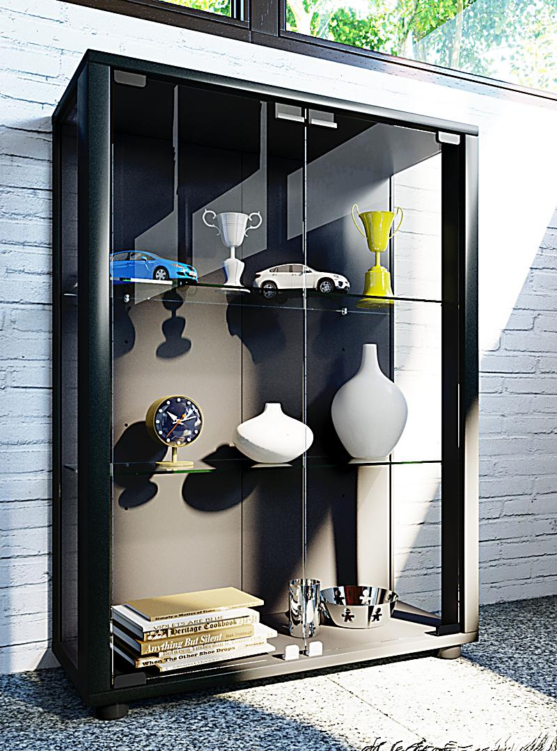 vcm sammelvitrine standvitrine glasvitrine glasregal vitrine glas schaukasten sintalo farbe mit. Black Bedroom Furniture Sets. Home Design Ideas