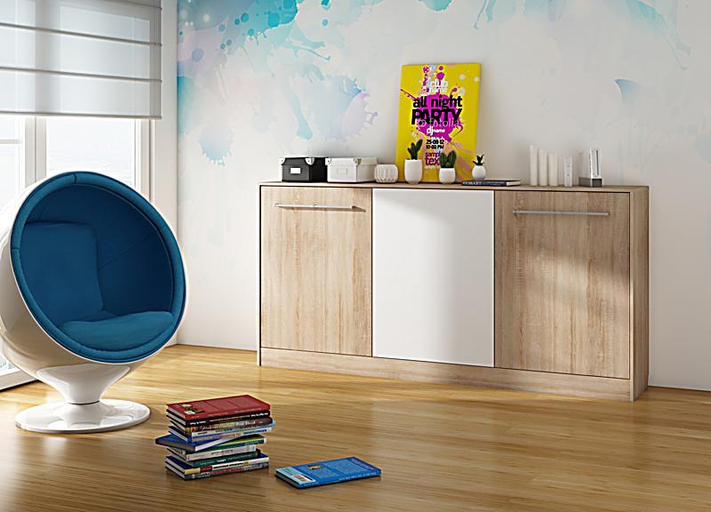 vcm schrankbett smalu g stebett wandbett klappbett funktionsbett holz farbe sonoma eiche. Black Bedroom Furniture Sets. Home Design Ideas
