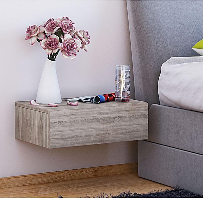 vcm wand nachttisch dormas nachttisch nachtschrank nachtkonsole farbe sonoma eiche. Black Bedroom Furniture Sets. Home Design Ideas