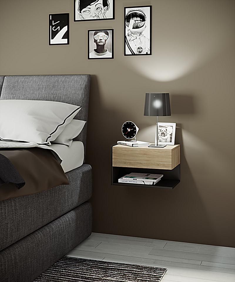 vcm wand nachttisch nachtschrank beistelltisch nacht kommode konsole dormal farbe sonoma eiche. Black Bedroom Furniture Sets. Home Design Ideas