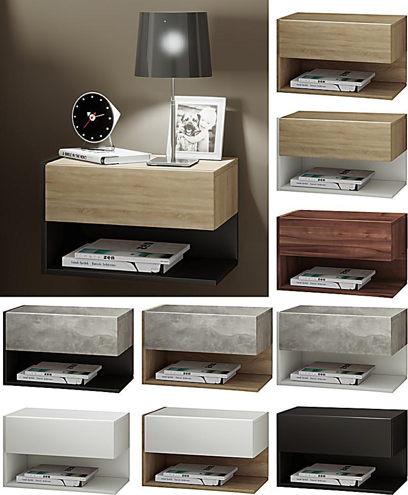 vcm wand nachttisch nachtschrank beistelltisch nacht kommode konsole dormal farbe wei sonoma. Black Bedroom Furniture Sets. Home Design Ideas