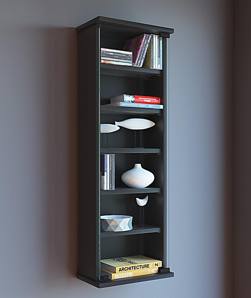 vcm wandregal loposa wand regal h nge vitrine schrank farbe schwarz. Black Bedroom Furniture Sets. Home Design Ideas