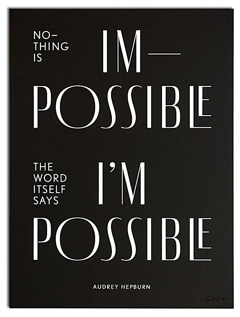 wallspiration paper wandbild nothing is impossible the word itself says i 39 m possible audrey. Black Bedroom Furniture Sets. Home Design Ideas