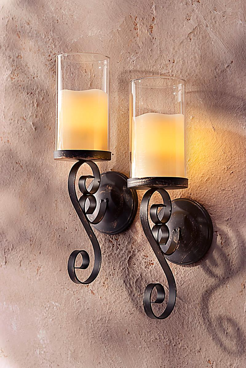 wand kerzenhalter mit led kerzen 2er set bestellen. Black Bedroom Furniture Sets. Home Design Ideas