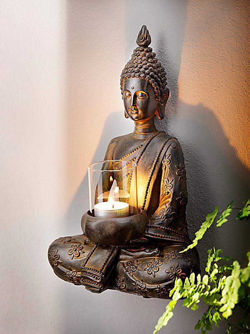 Wanddeko buddha mit teelichthalter bestellen for Buddha bestellen