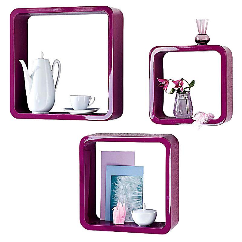 wandregal set 3 teilig farbe lila bestellen. Black Bedroom Furniture Sets. Home Design Ideas