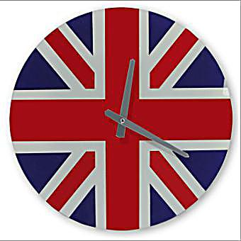 wanduhr glas motiv union jack jetzt bei bestellen. Black Bedroom Furniture Sets. Home Design Ideas