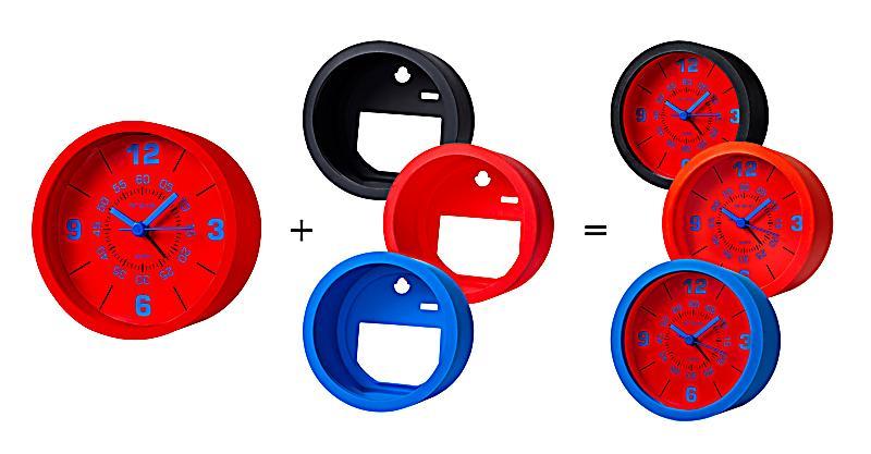 wecker mit 3 silikonh llen zum wechseln farbe rot blau schwarz. Black Bedroom Furniture Sets. Home Design Ideas