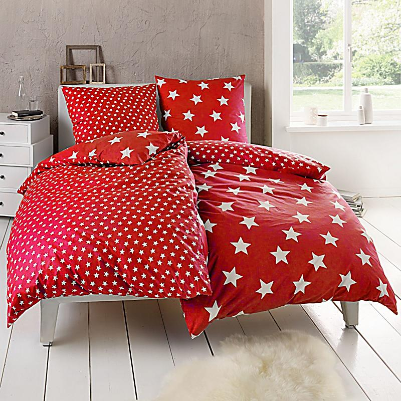 wende bettw sche sterne rot 135 x 200 cm bestellen. Black Bedroom Furniture Sets. Home Design Ideas