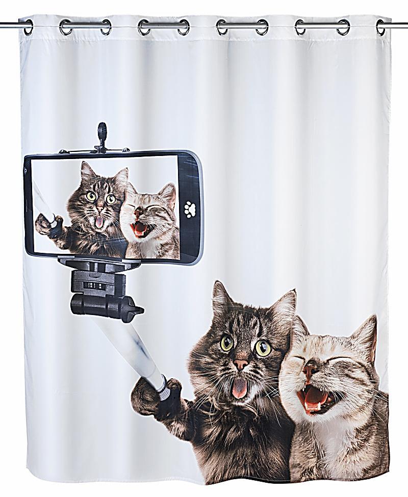 wenko anti schimmel duschvorhang selfie cat flex polyester 180 x 200 cm waschbar. Black Bedroom Furniture Sets. Home Design Ideas