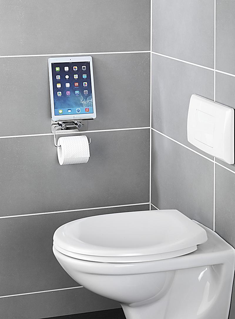 wenko toilettenpapierhalter mit smartphone ablage und 2. Black Bedroom Furniture Sets. Home Design Ideas