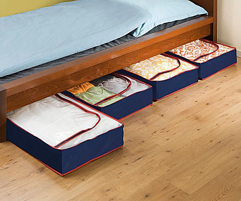 wenko unterbettkommode blau rot 4er set bestellen. Black Bedroom Furniture Sets. Home Design Ideas