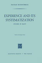 Experience and its Systematization. Nathan Rotenstreich, - Buch - Nathan Rotenstreich,