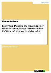 Förderplan - Diagnose und Förderung einer Schülerin der einjährigen Berufsfachschule für Wirtschaft (Höhere Handelsschule) - eBook - Thomas Goldbach,