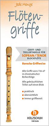 Jede Menge Flötengriffe, Griff- / Trillertabelle für Sopran- und Tenorblockflöte, barocke Griffweise