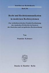 Recht und Rechtskommunikation in modernen Rechtssystemen. Stanislav Kabanov, - Buch - Stanislav Kabanov,