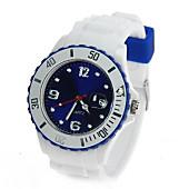 Uhr Silikon-Style weiß/blau