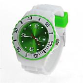 Uhr Silikon-Style weiß/grün