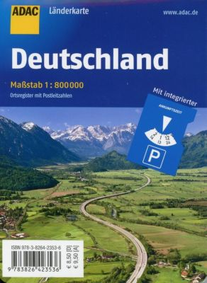 ADAC Länderkarte Deutschland 1:800 000 mit Parkscheibe