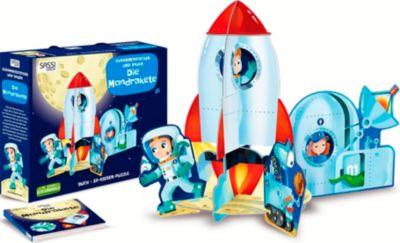 Die Mondrakete, 3D-Riesenpuzzle + Buch