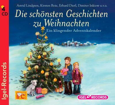 Die schönsten Geschichten zur Weihnachtszeit, 4 Audio-CDs, Astrid Lindgren, Kirsten Boje, Erhard Dietl, Dimiter Inkiow