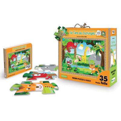 Die Tiere des Dschungels - Riesenpuzzle & Buch, 35 Teile