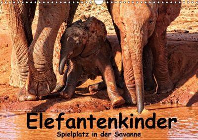 Elefantenkinder. Spielplatz Savanne (Wandkalender 2018 DIN A3 quer), Susan Michel