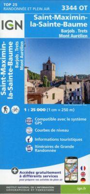 IGN Karte, Carte de randonnée (et plein air) Saint-Maximin-la-Sainte-Baume - Barjols - Trets - Mont Aurélien