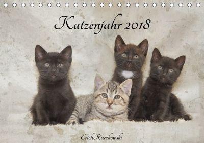 Katzenjahr 2018 (Tischkalender 2018 DIN A5 quer), Erich Ruczkowski