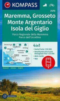 Kompass Karte Maremma, Grosseto, Monte Argentario, Isola del Giglio