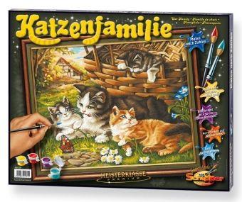 Meisterklasse Premium, Malen nach Zahlen (Mal-Sets): Katzenfamilie