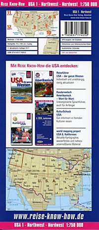 Reise Know-How Landkarte USA 01, Nordwest (1:750.000) : Washington und Oregon - Produktdetailbild 1
