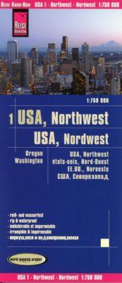 Reise Know-How Landkarte USA 01, Nordwest (1:750.000) : Washington und Oregon, Reise Know-How Verlag Peter Rump