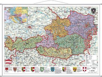 Stiefel Wandkarte Großformat Österreich, politisch, mit Metallbeleistung