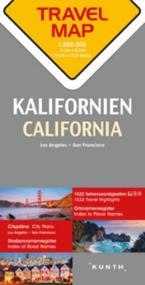 Travelmap Reisekarte Kalifornien 1:800.000; California; Californie
