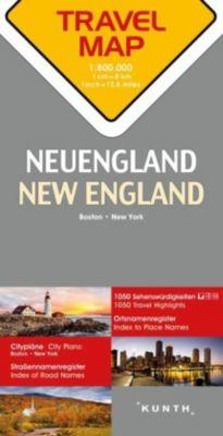 Travelmap Reisekarte Neuengland / New England 1:800.000