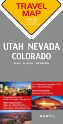 Travelmap Reisekarte Nevada / Utah / Colorado 1:800.000