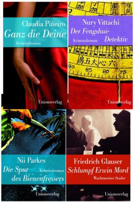 Vier Krimis im Set aus dem Unionsverlag, Nii Parkes, Claudia Pineiro, Friedrich Glauser, Nury Vittachi