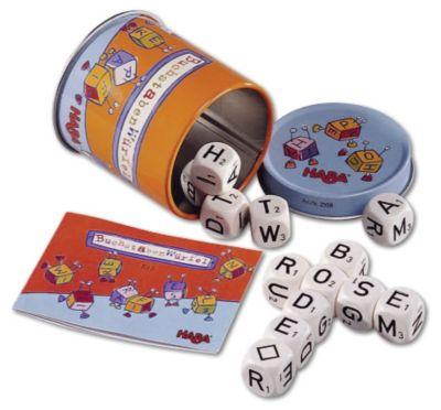 HABA Buchstabenwürfel, Dosenspiel
