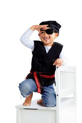 Kostümset Pirat, 4-teilig, schwarz, Größe 104/110