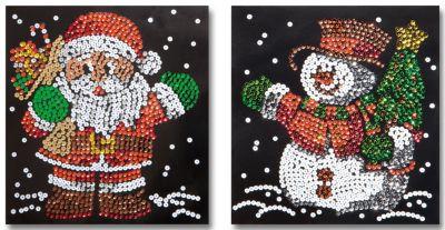 Paillettenbilder (Motive: Weihnachtsmann & Schneemann)