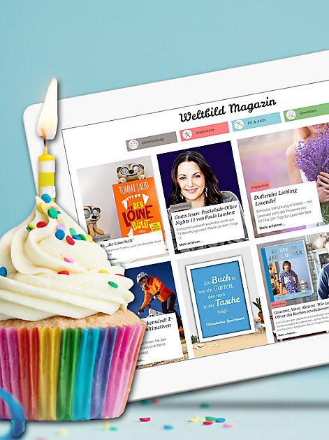 Das Weltbild Magazin feiert seinen ersten Geburtstag und verlost tolle Preise