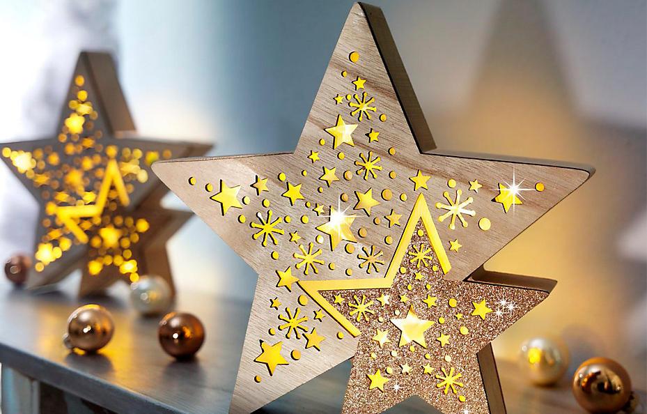 LED-Sterne aus Holz