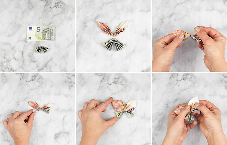 Anleitung für ein kreatives Geldgeschenk mit gefalteten Schmetterlingen