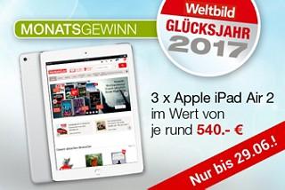 Unser aktueller Monatsgewinn: 3 x Apple iPad Air 2 im Wert von je rund 540.- €!
