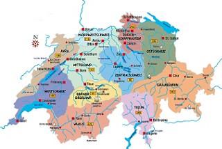 Karte Schweiz - Wo möchten Sie hin? - Alle Ausflugsziele nach Region