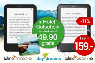 Hotel-Gutschein im Wert von 49.90 € gratis beim Kauf eines tolino shine 2 HD oder tolino vision 4 HD!