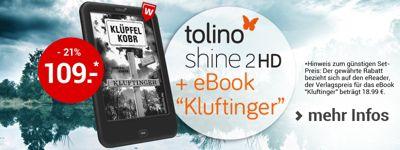 "tolino shine 2 HD inkl. eBook-Bestseller ""Kluftinger"" zum Spitzenpreis!"