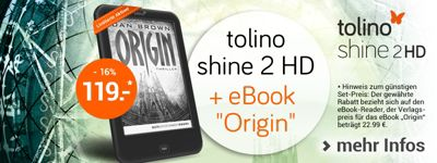 "Limitierte Aktion: tolino shine 2 HD inkl. eBook-Bestseller ""Origin"" von Dan Brown"